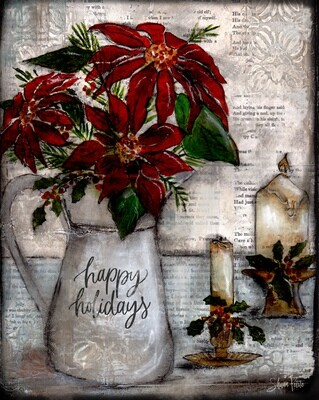 """""""Happy Holidays"""" pitcher Print on Wood and Print to be Framed"""