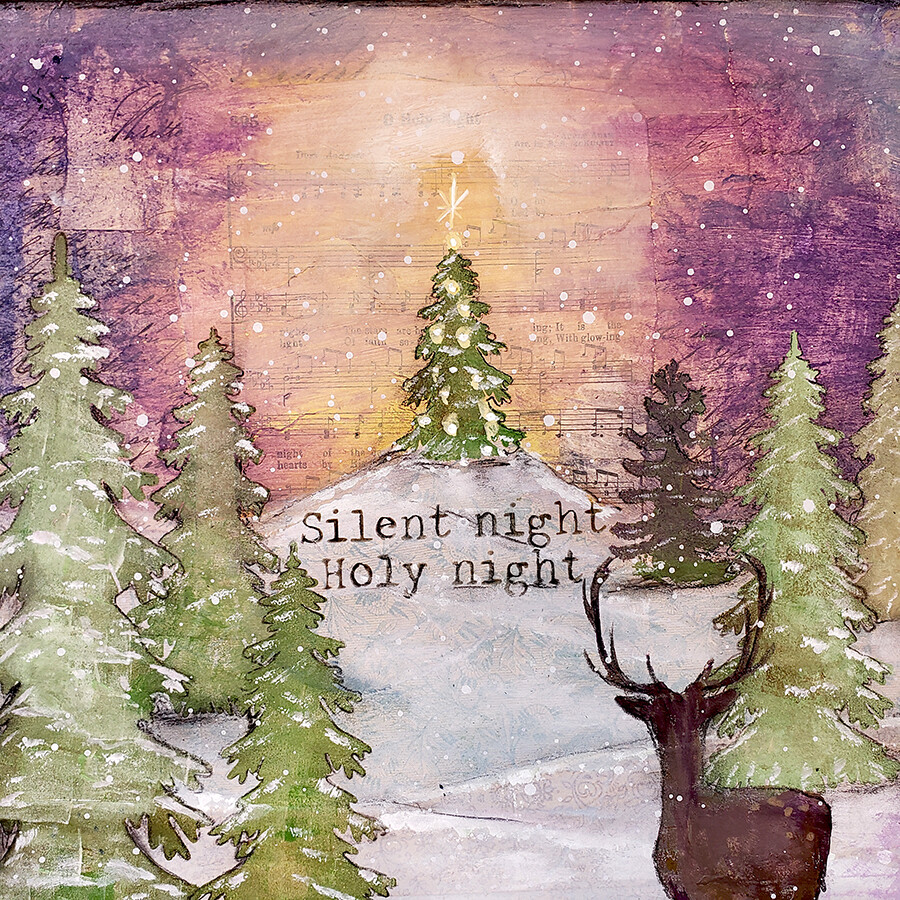 Silent night holy night 12x12 mixed media original