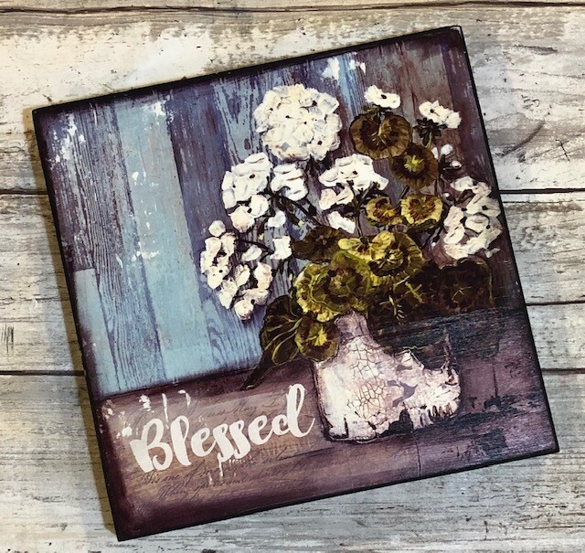 """Blessed"" 6x6 print on wood clearance"