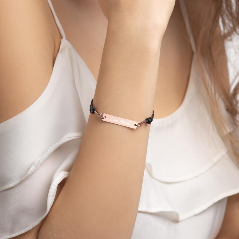 """Love More"" Engraved Bar String Bracelet"
