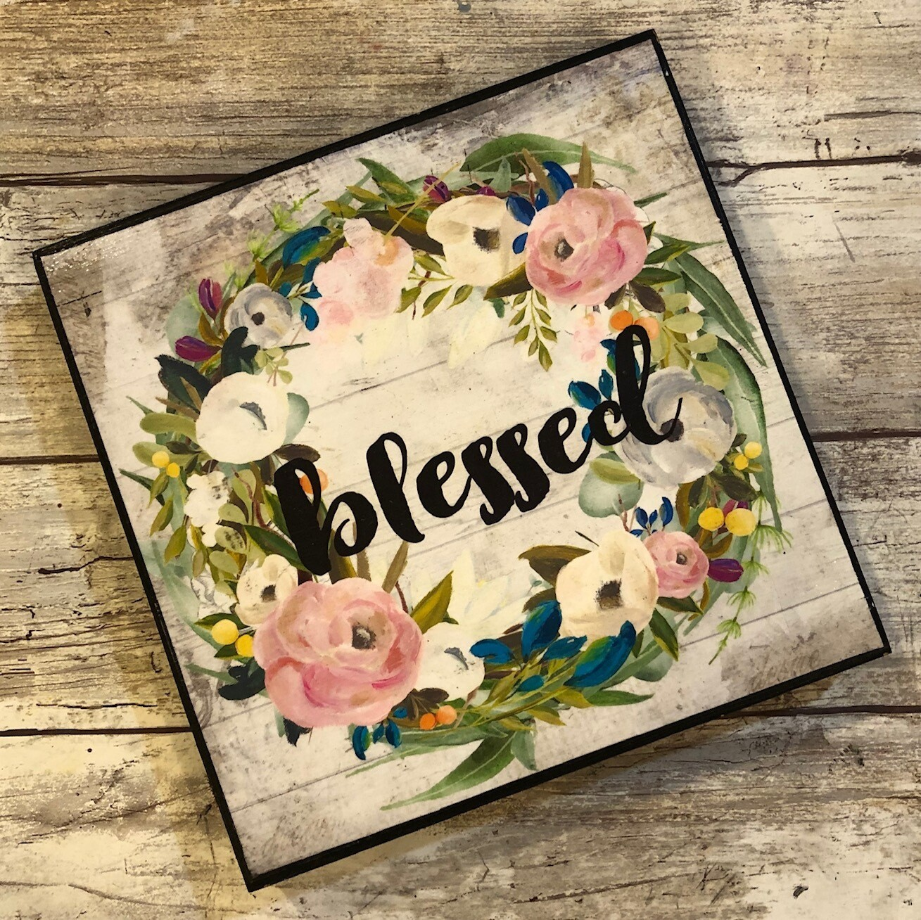 """""""Blessed wreath"""" pink flowers 6x6 print on wood clearance"""