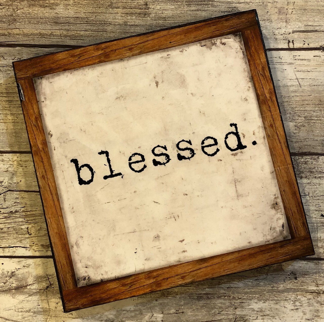 """""""Blessed"""" neutral 6x6 print on wood clearance"""