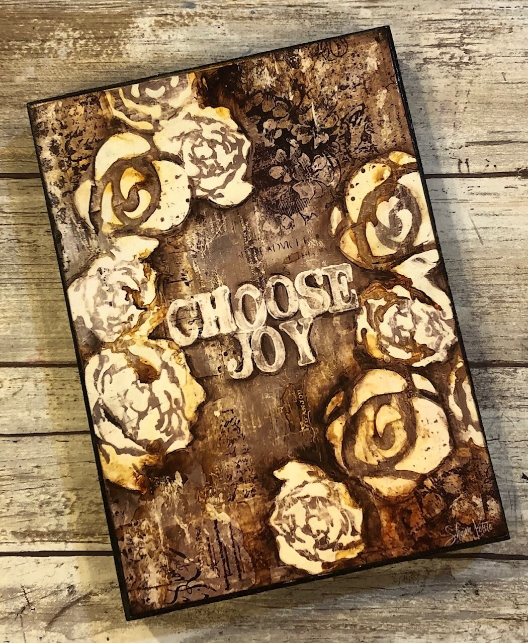 """Choose Joy"" 5x7 print on wood clearance"