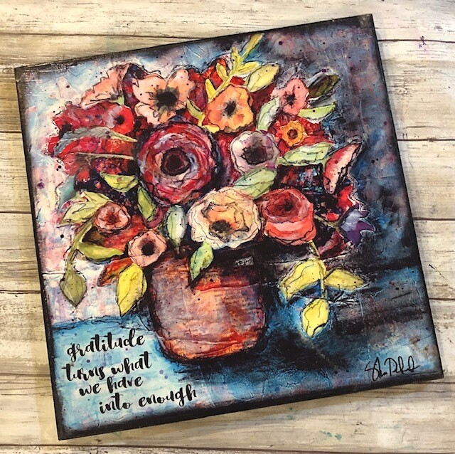 """Gratitude turns what we have into enough"" 12x12 clearance"