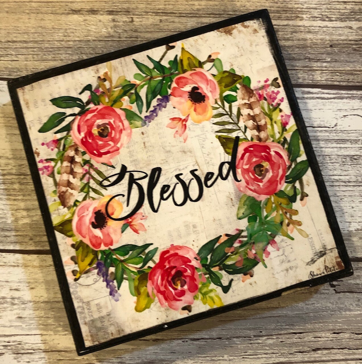 """""""Blessed"""" muted wreath 4x4 Clearance"""