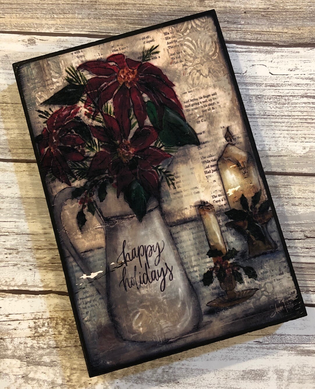 """Happy Holidays"" poinsettia 4x6 Clearance"