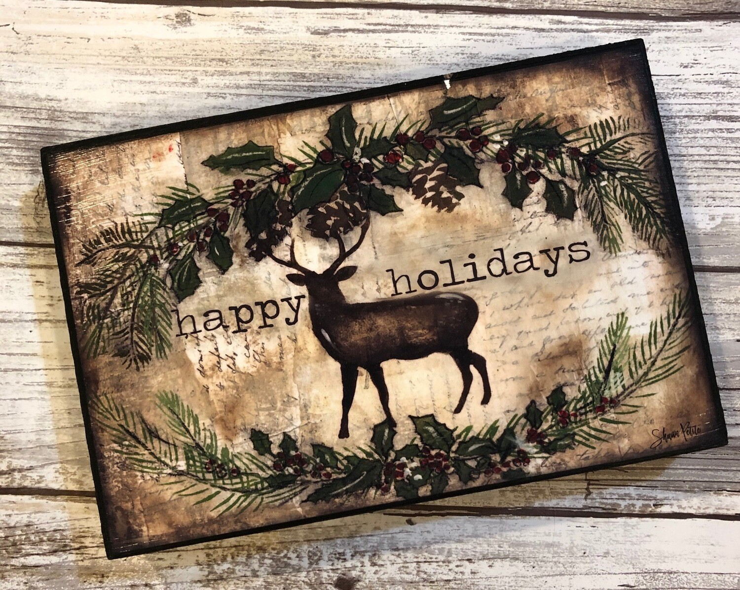 """Happy Holidays"" deer 4x6 Clearance"