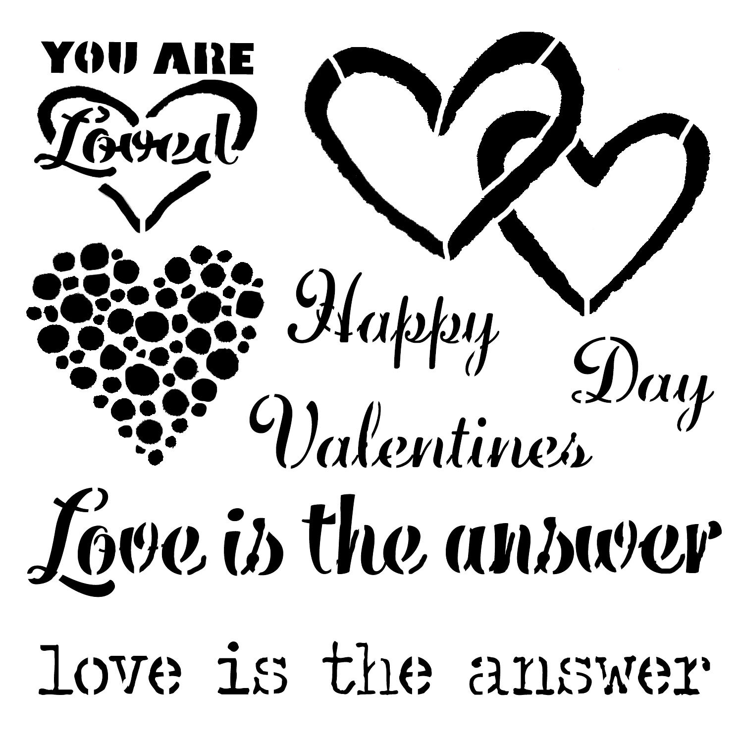Valentine's Day Love is the Answer stencil 6x6
