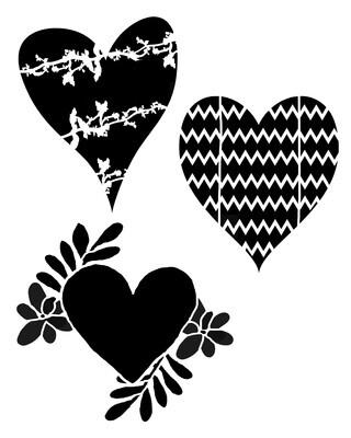 Pattern Hearts 12x12 stencil