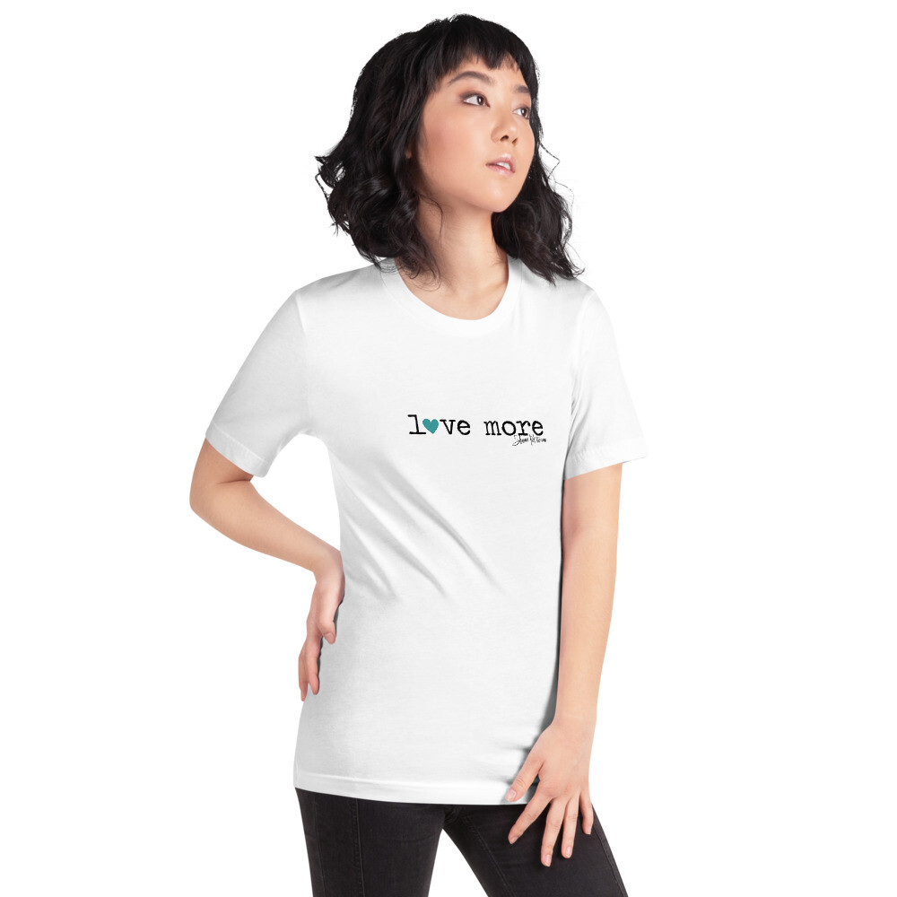 """Love More"" Teal Heart Short-Sleeve T-Shirt"