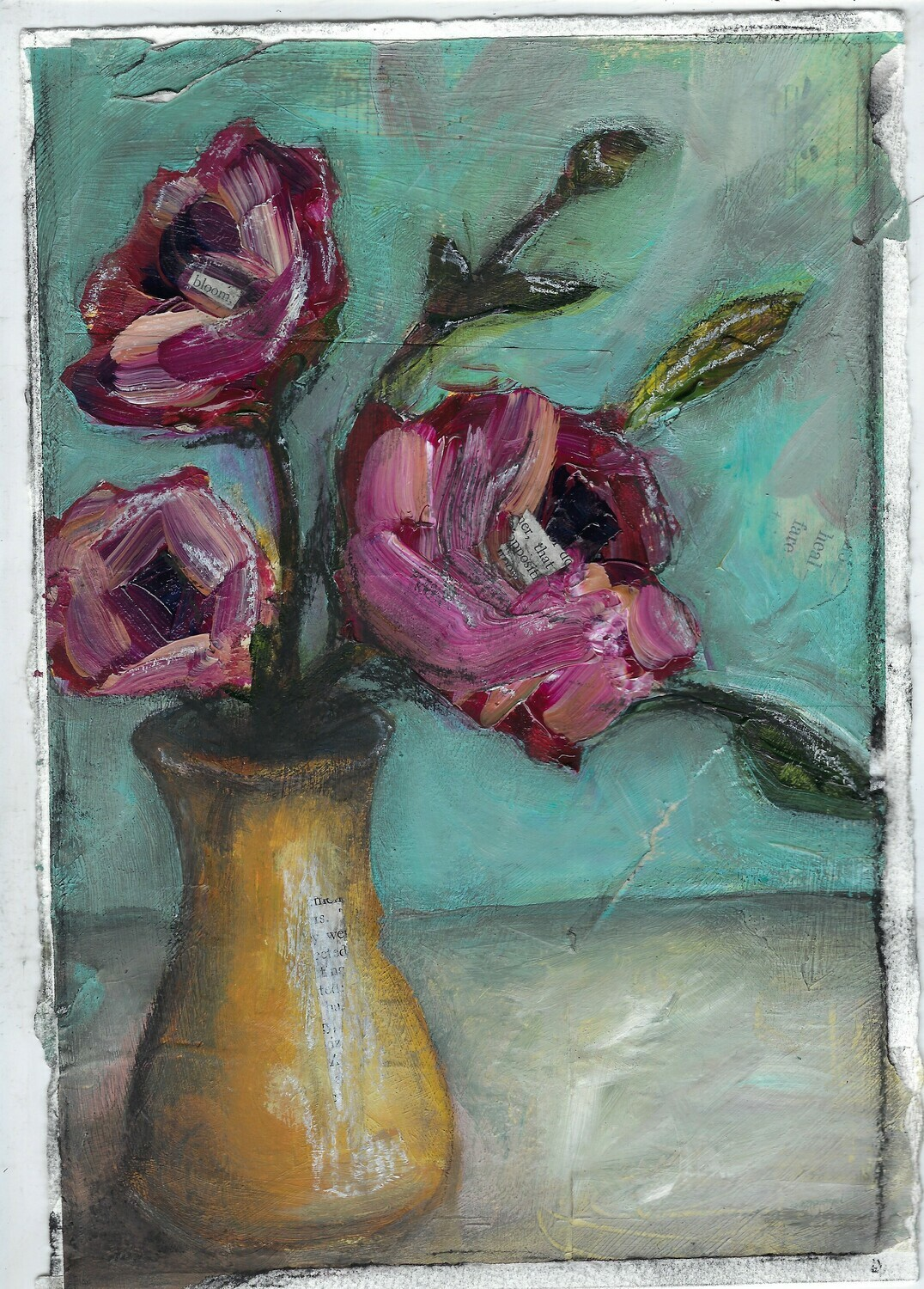 """""""Bloom Yellow Vase"""" 7.5x11 mixed media original to be framed"""