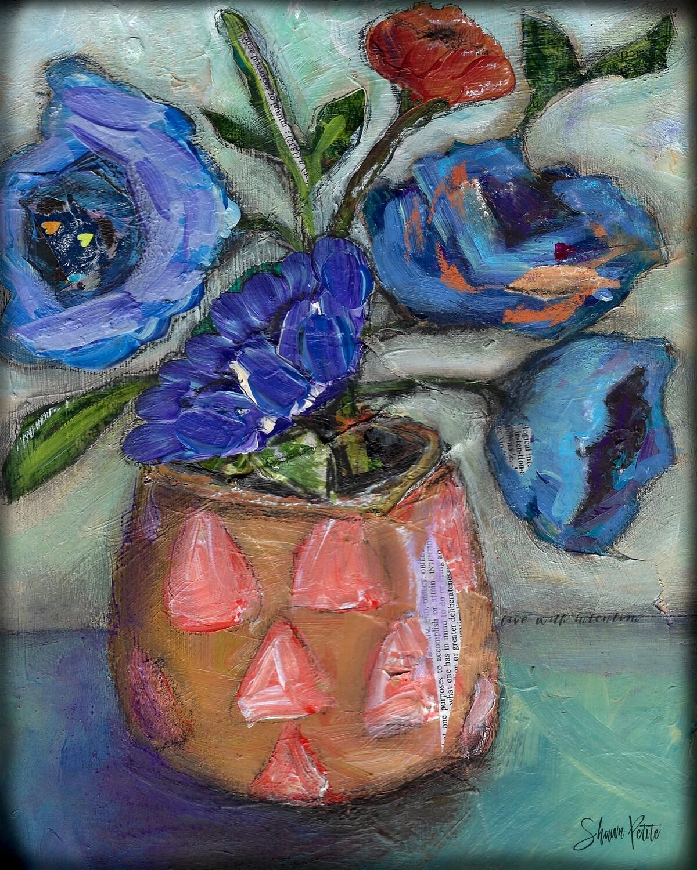 """""""Orange Vase Floral"""" 7.5x11 mixed media original to be framed"""