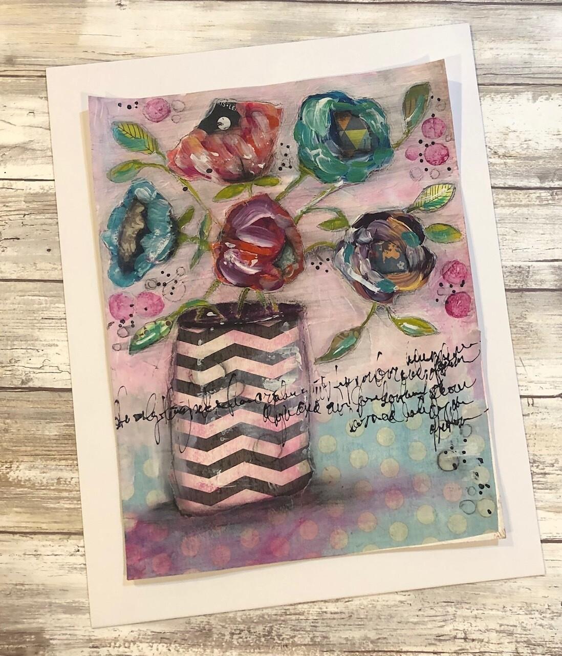 """Playful Flowers"" chevron vase 9x12 mixed media original to be framed"