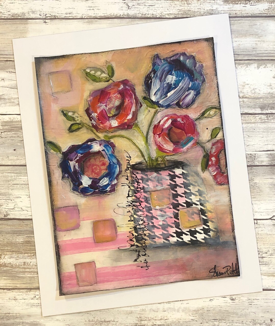 """Playful Flowers"" houndstooth vase 9x12 mixed media original to be framed"