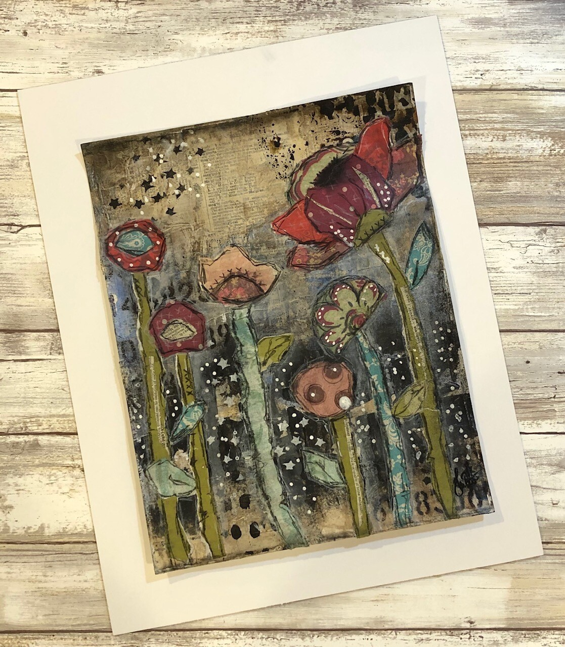 """Forest of Flowers 1"" 8.5x11 mixed media original to be framed"