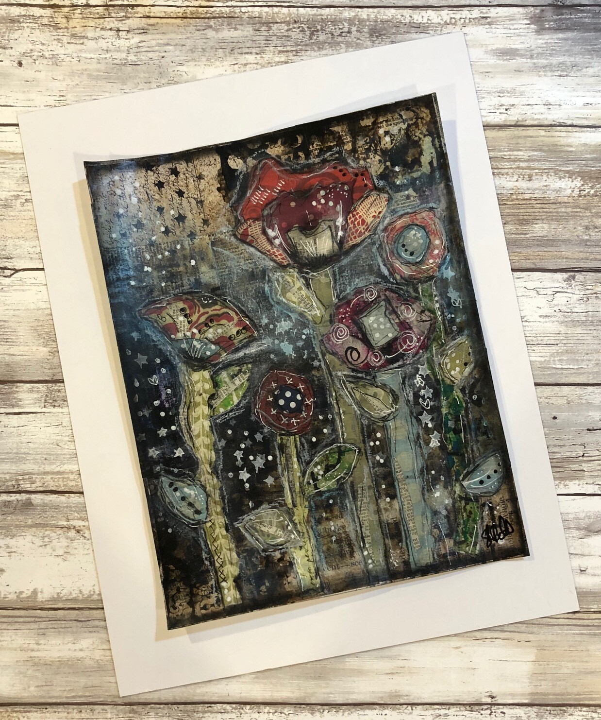 """Forest of Flowers 2"" 8.5x11 mixed media original to be framed"