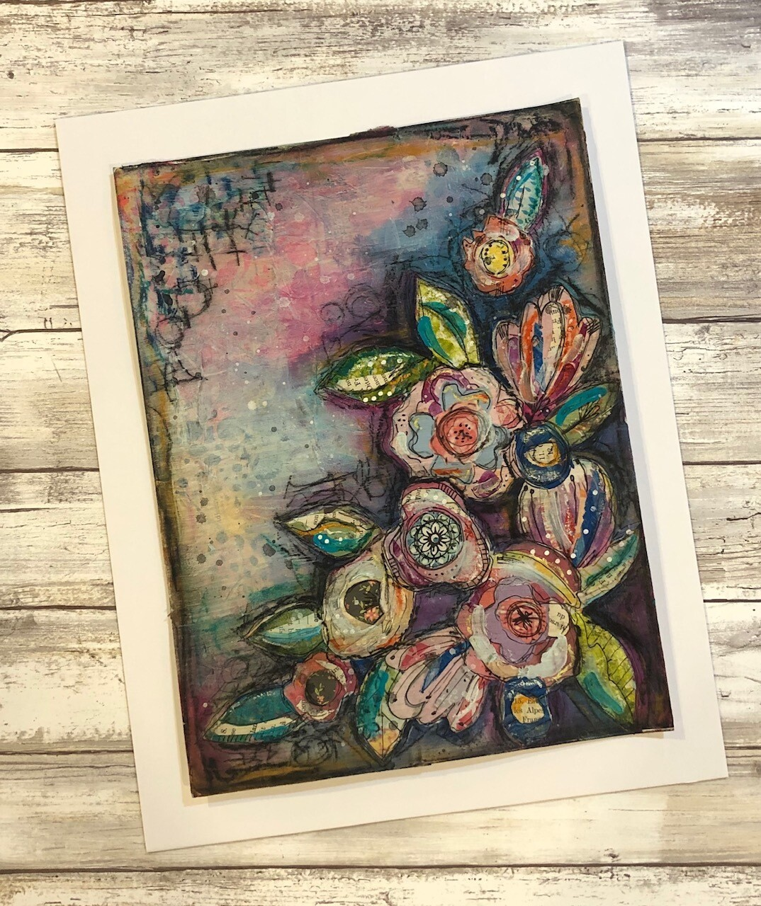 """""""Full Bloom 2"""" 9x11.75 mixed media original to be framed clearance"""