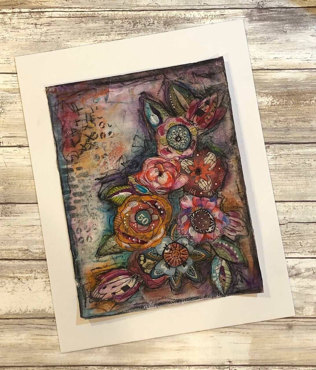 """Full Bloom 1"" 8.5x11 mixed media original to be framed clearance"