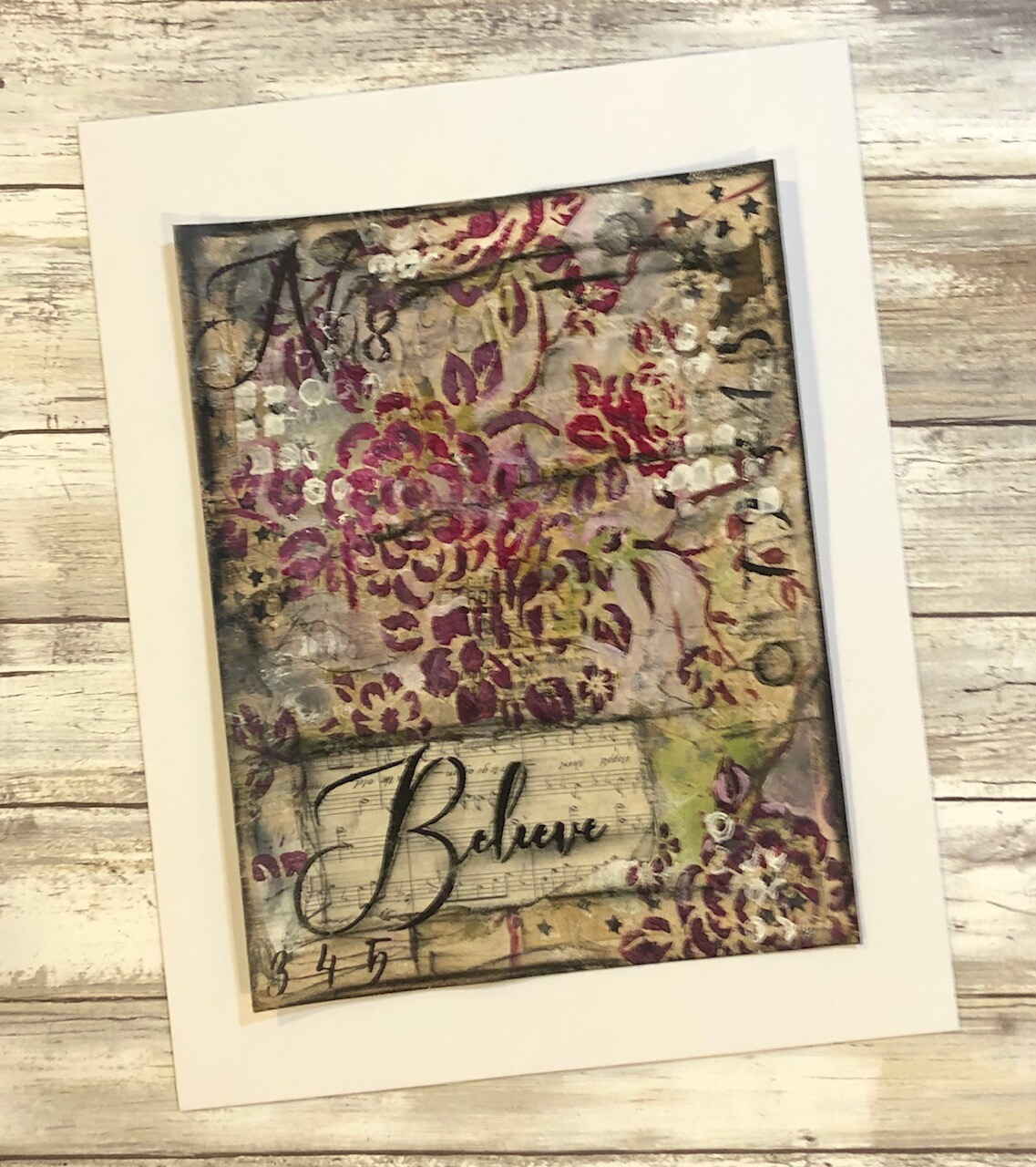 """Believe"" 8.5x11 mixed media original to be framed Clearance"