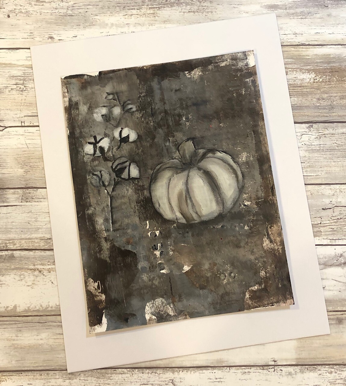 """Grungy Fall"" 8.5x11 mixed media original to be framed"