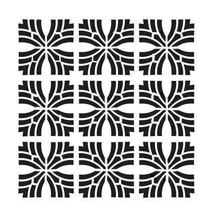Geo Cross 9 12x12 stencil