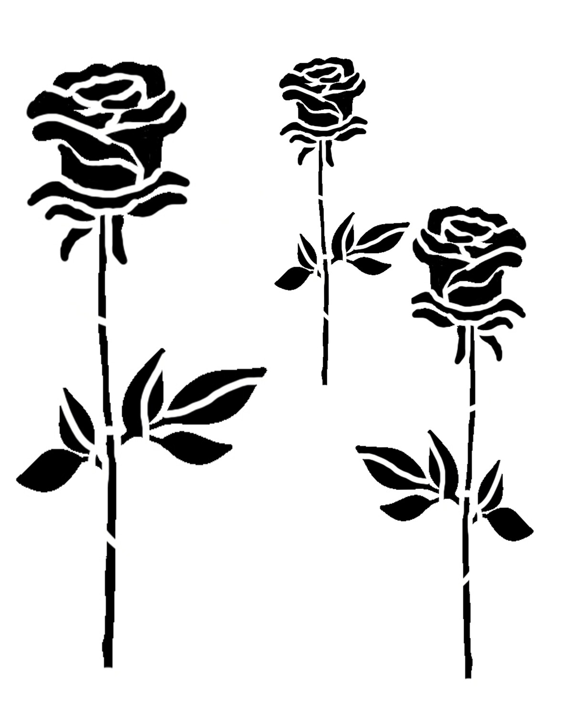 Roses Trio stencil 8x10