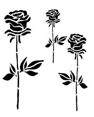 Roses Trio stencil 12x16