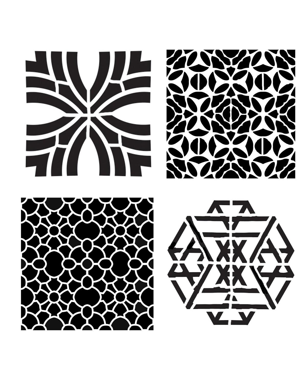 Modern Pattern Minis 2 stencil 8x10