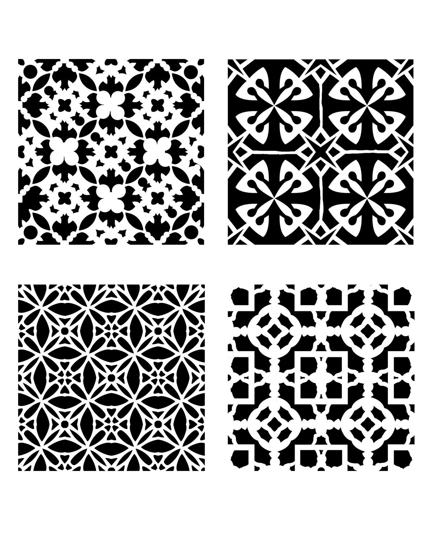 Modern Pattern Minis 1 stencil 8x10