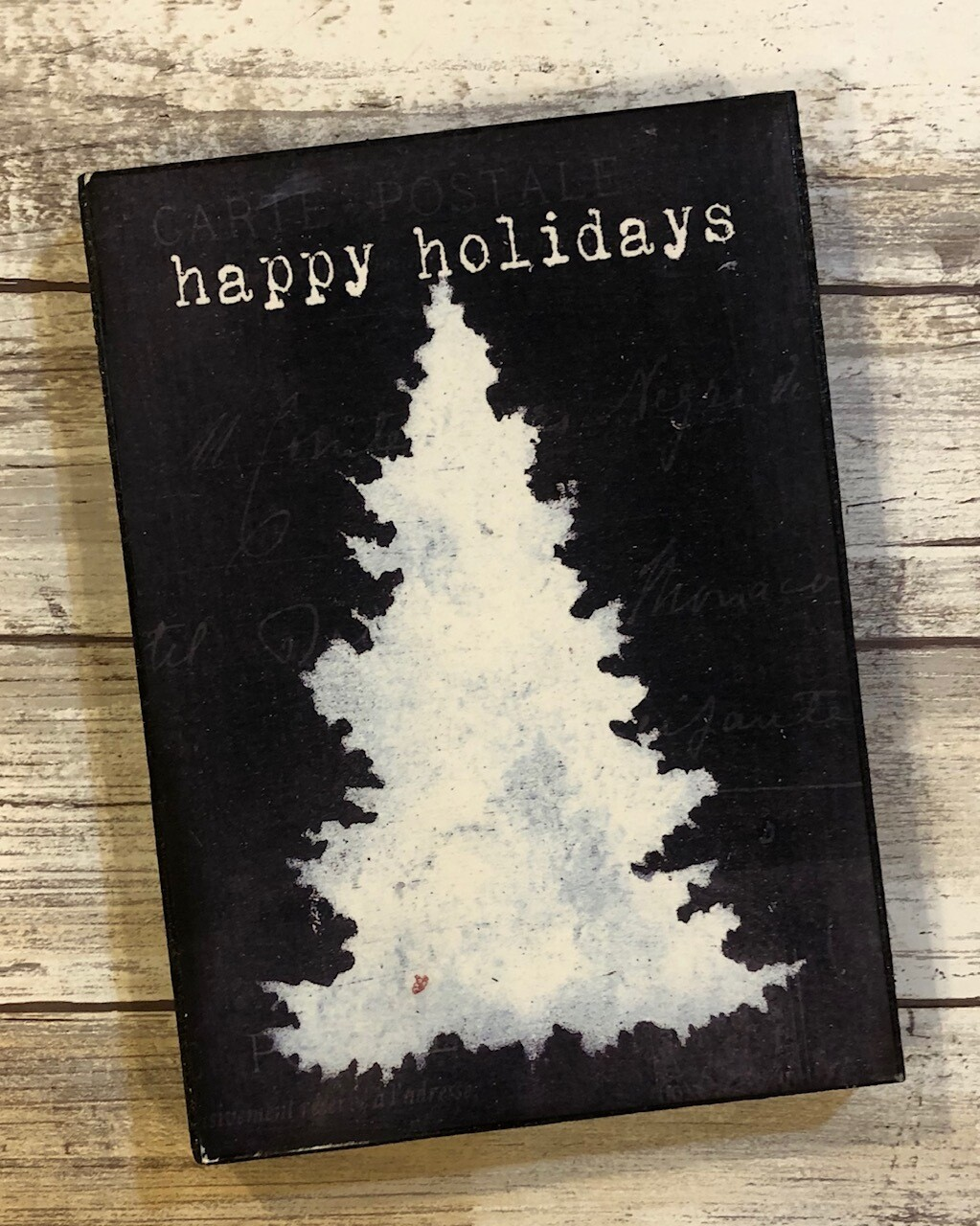 """Happy Holidays"" tree 5x7 Clearance"