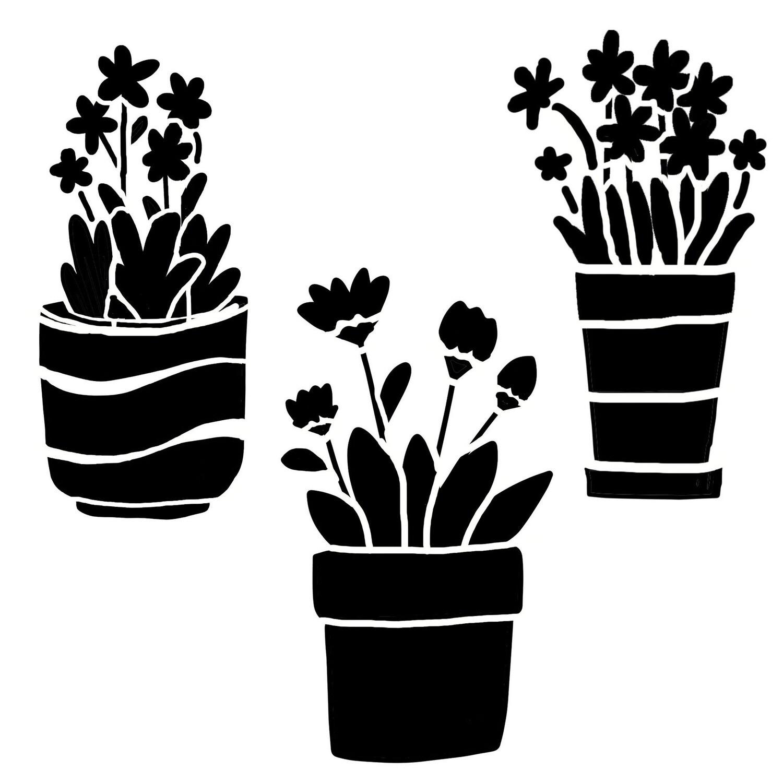 Little pots stencil 12x12
