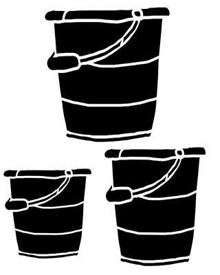 Tin Buckets stencil 12x12