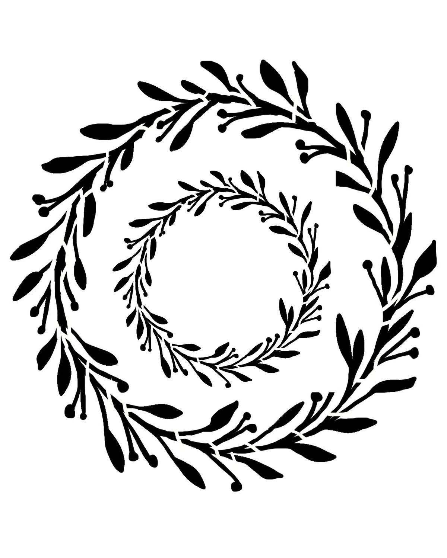 Spring Wreath stencil 12x12