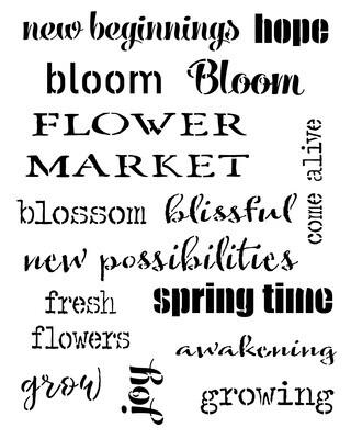 Spring Words stencil 12x16