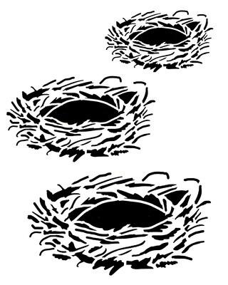 Birds nests 8x10 stencil
