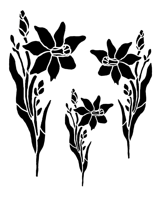 Daffodils Trio 8x10 stencil