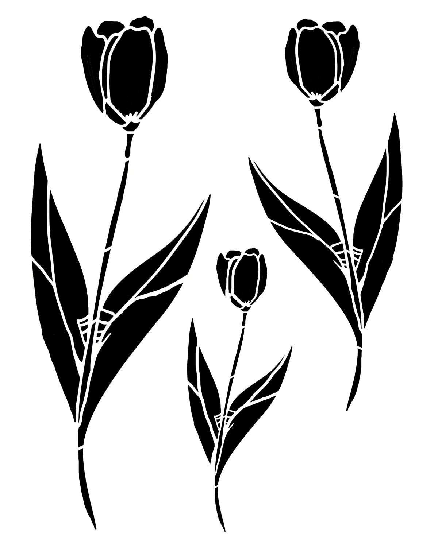 Tulips Trio stencil 12x16
