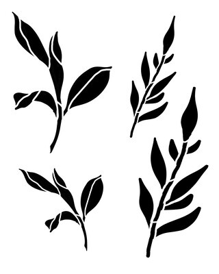 Spring Leaves 1 stencil 12x16