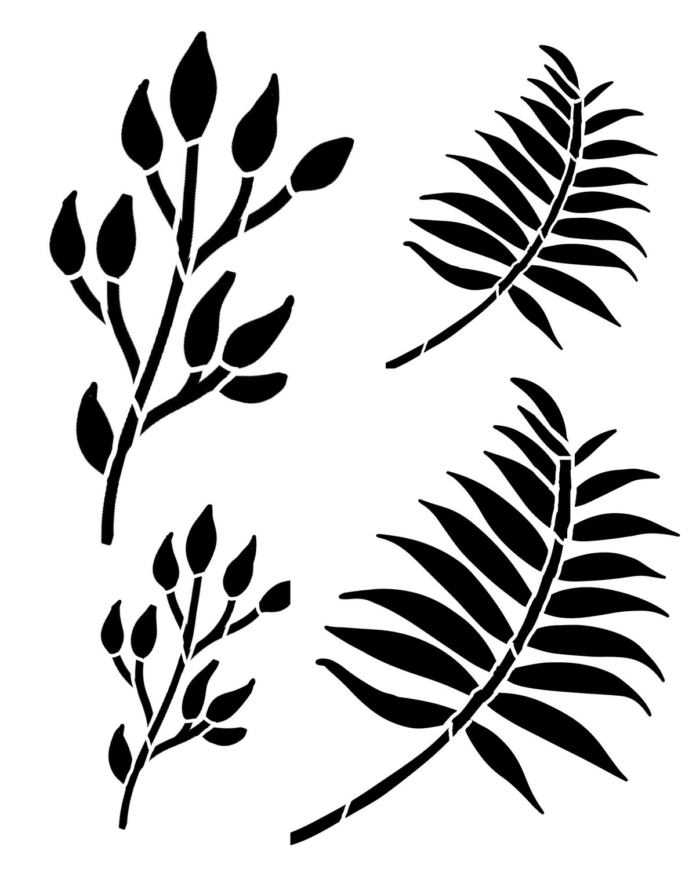 Spring Leaves 2 stencil 12x16