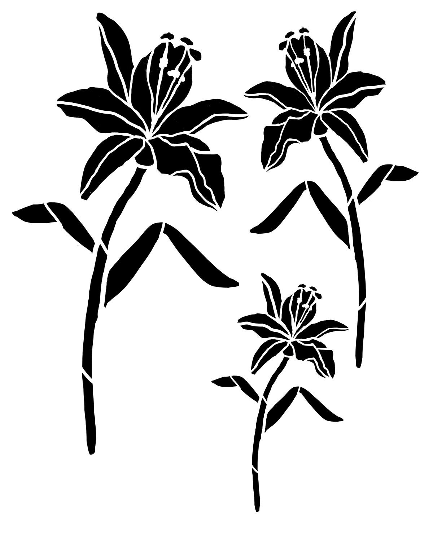Day Lily Trio 8x10 stencil