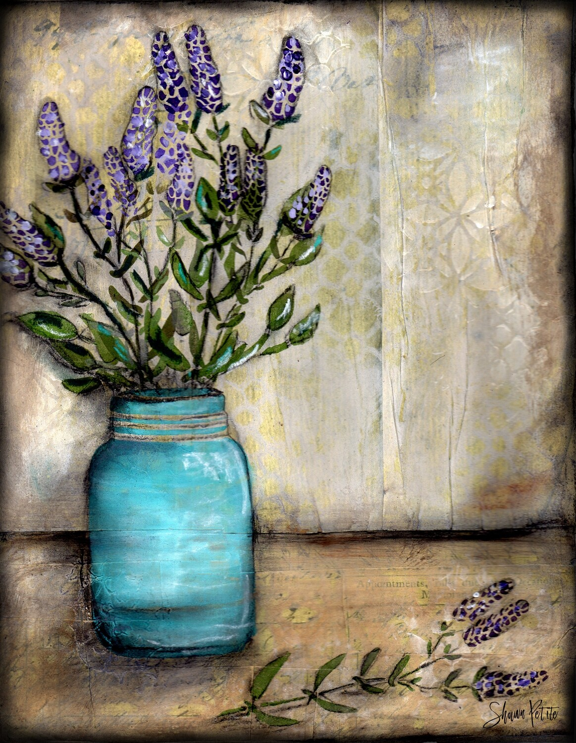 """Lavender"" mason jar Print on Wood and Print to be Framed"