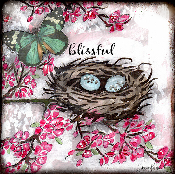 """Blissfull"" birds nest Print on Wood and Print to be Framed"