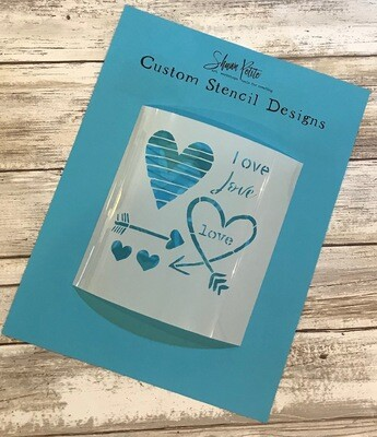 Valentines Hearts and Arrows clearance stencil