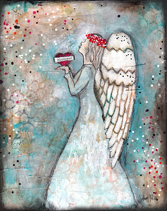 """Angel of Kindness"" Print on Wood and Print to be Framed"