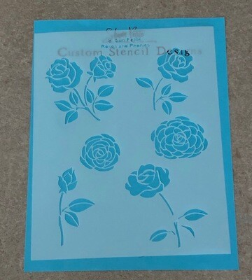 Roses and Peonies clearance stencil
