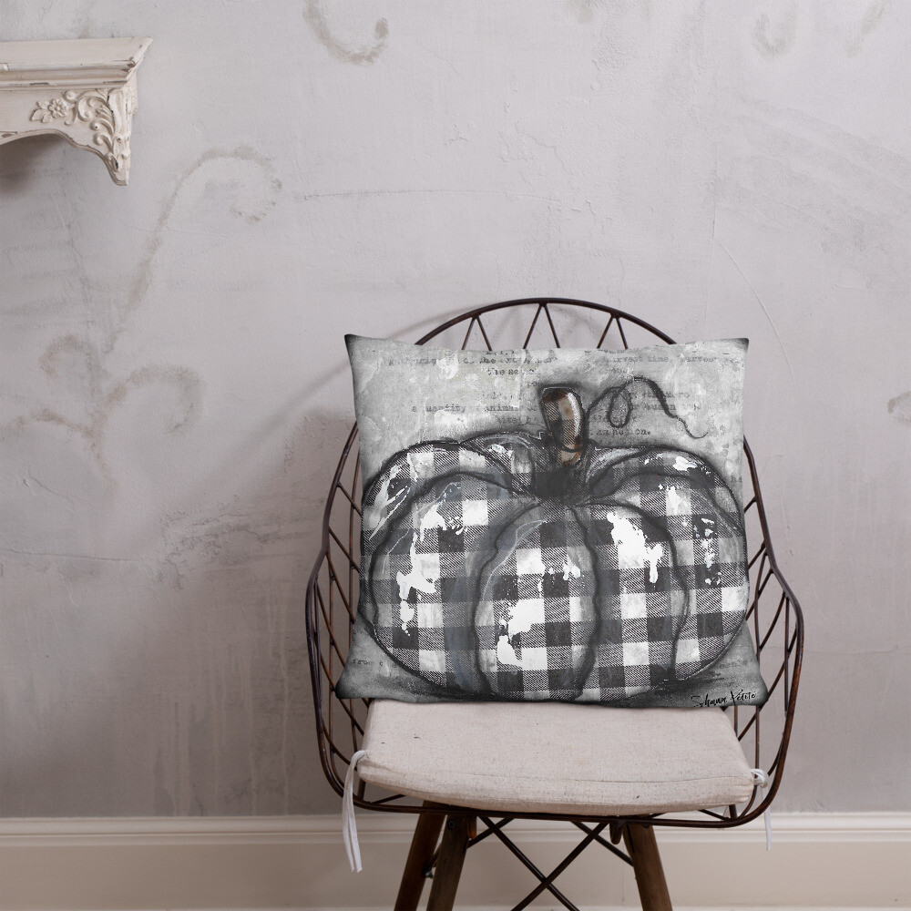 Black and White plaid Pumpkin Basic Pillow