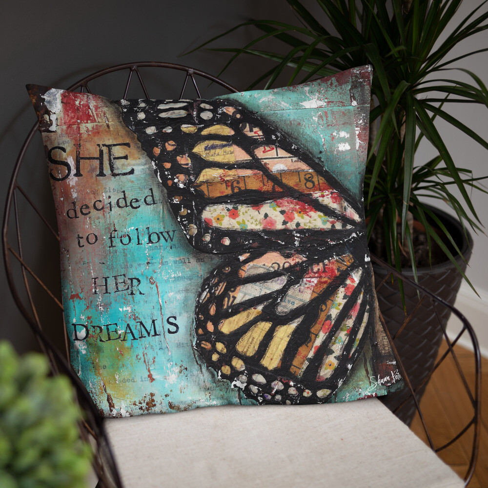 She decided to follow her dreams butterfly Basic Pillow