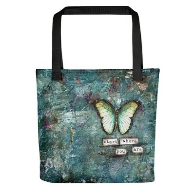 Start where you Are butterfly Tote bag