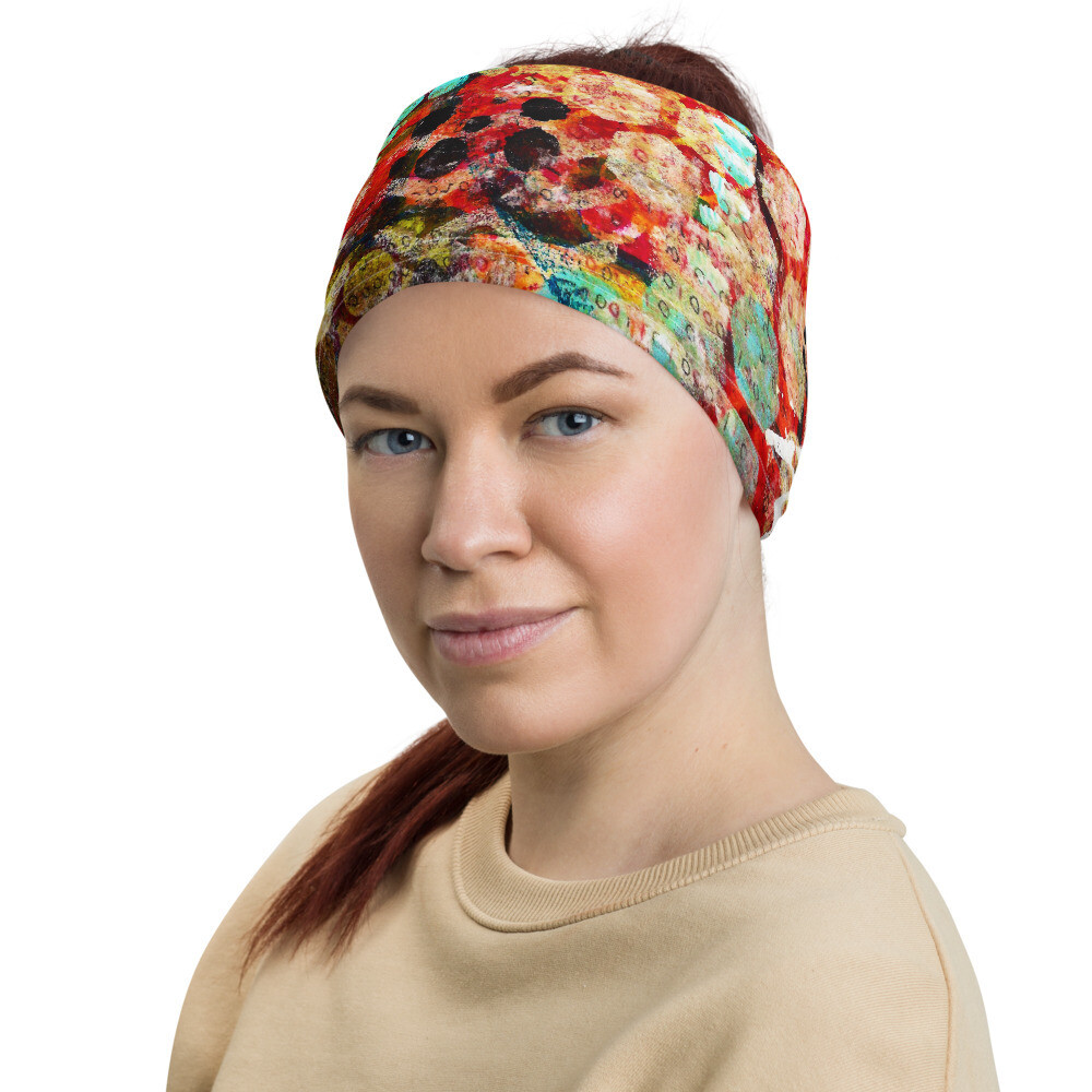 Teal Abstract Head Wrap/Neck Gaiter
