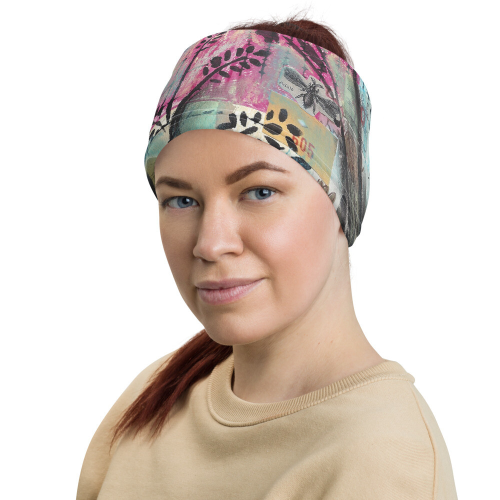 Pink Floral Head Wrap/Neck Gaiter